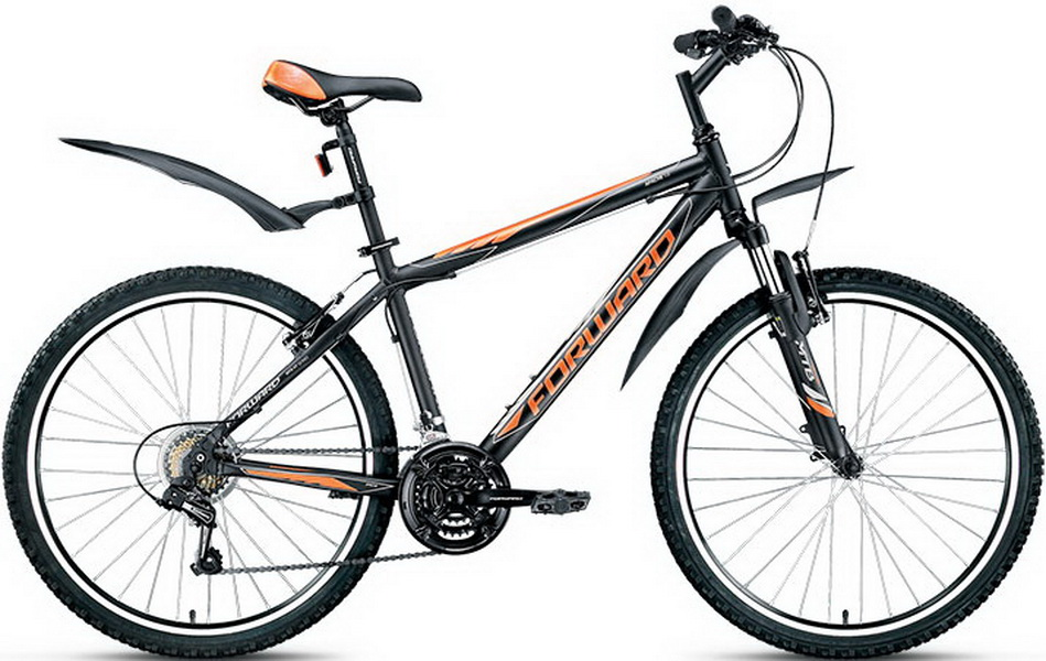 "Велосипед 26"" Forward Apache 1.0 (17"") 21ск, AL, V-br, чёрный, 2017г."