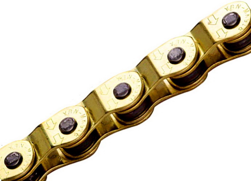 "Цeпь BMX 100зв.1/2""х1/8"" YBN MK918, Half-Link, Ti-N покрытие, золотистая"