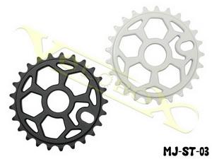 """Звезда BMX 25Т 1/2""""х1/8"""" 6мм Mj Cycle MJ-ST-03 фрезерованная, """"пентагон"""", AL-7075 T6, белая"""