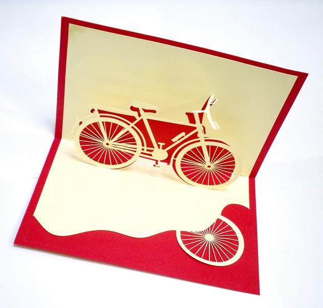 Как сделать открытку велосипед 375