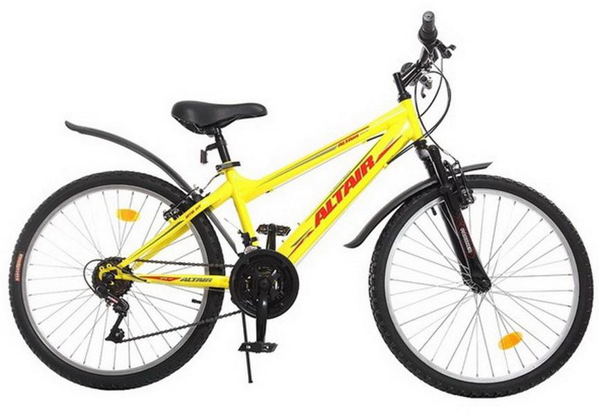 """Велосипед 24"""" Altair MTB HT 18ск, St, Disc, жёлтый, 2017г."""