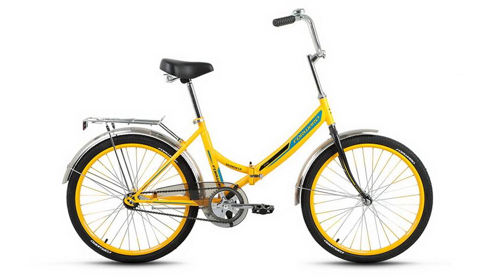 """Велосипед 24"""" Forward Valencia 1.0 складной, St, жёлтый, 2017г."""