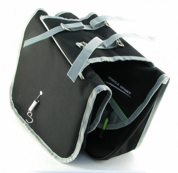 """Сумка на багажник Vinca Sport 320х280х105мм, """"штаны"""" для складного велосипеда, со светоотражающей полосой, чёрная (14024)  **"""