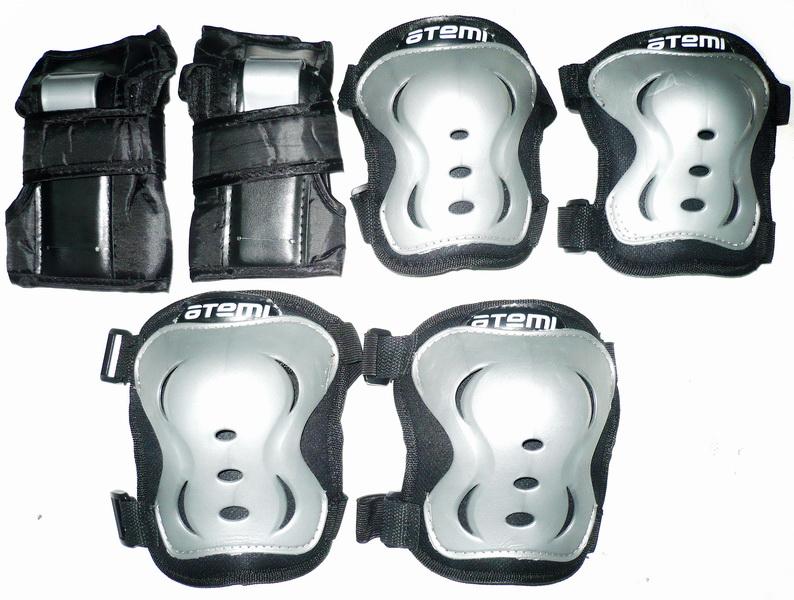 Велоформа Защита взрослая APS-02, р.L, набор (колени+локти+кисти), чёрно-серая   ч