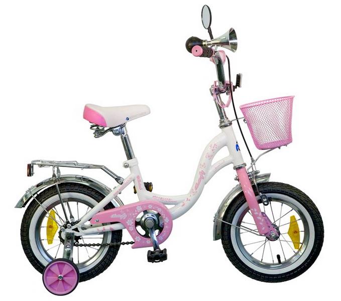 "Велосипед 14"" Novatrack Butterfly белый-розовый"