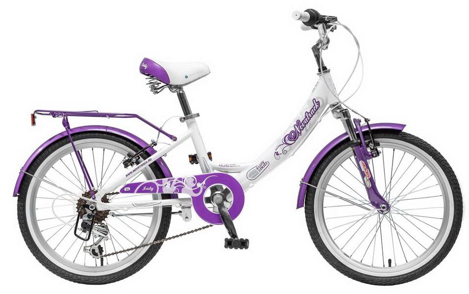 """Велосипед 20"""" Novatrack Girlish line, 6ск, алюминиевая рама, бело-сиреневый"""