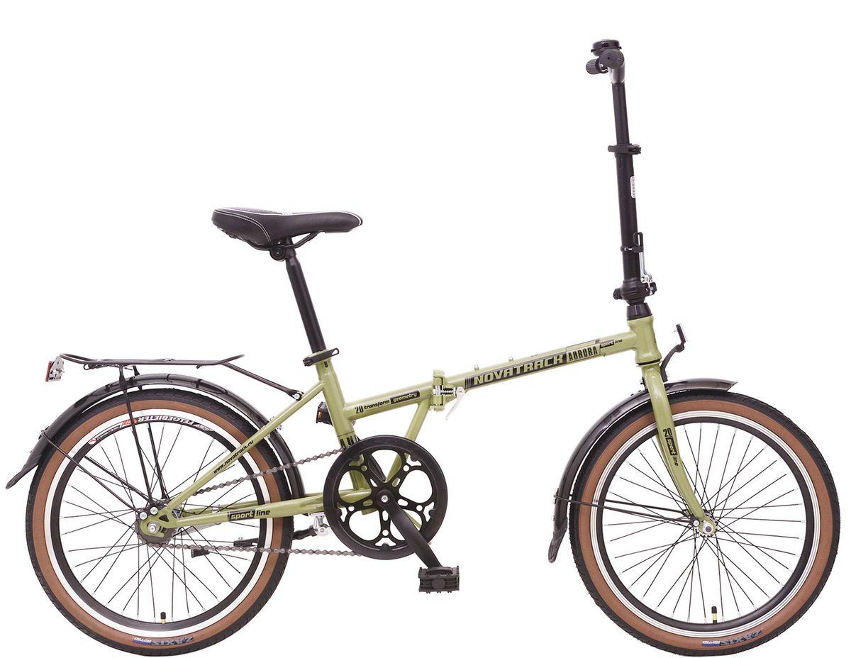 """Велосипед 20"""" Novatrack Aurora, sram 2ск, автоматическое переключение скоростей, складной, хаки"""