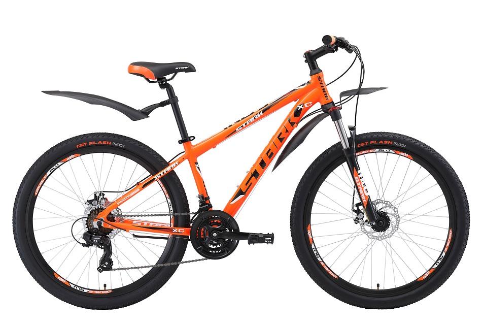 """Велосипед 26"""" Stark Indy 26.2 D, (18"""") 21ск, AL, Disc, оранжево-чёрно-белый, модель 2018"""