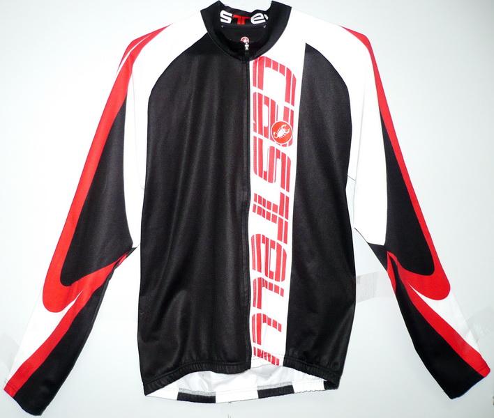 Велоформа Джерси Castelli р.L, с длинным рукавом, чёрно-бело-красная