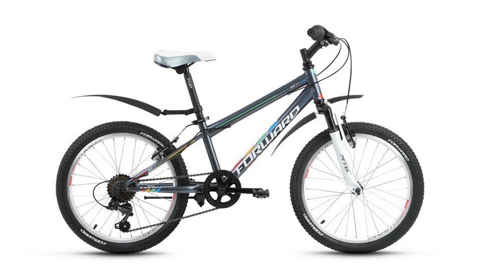 """Велосипед 20"""" Forward Unit 2.0 6ск, St, V-br, серый матовый, 2018г."""