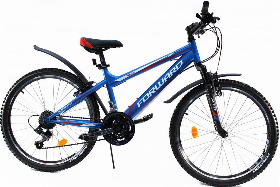 """Велосипед 24"""" Forward Titan 2.0 18ск, St, V-br, синий, матовый"""