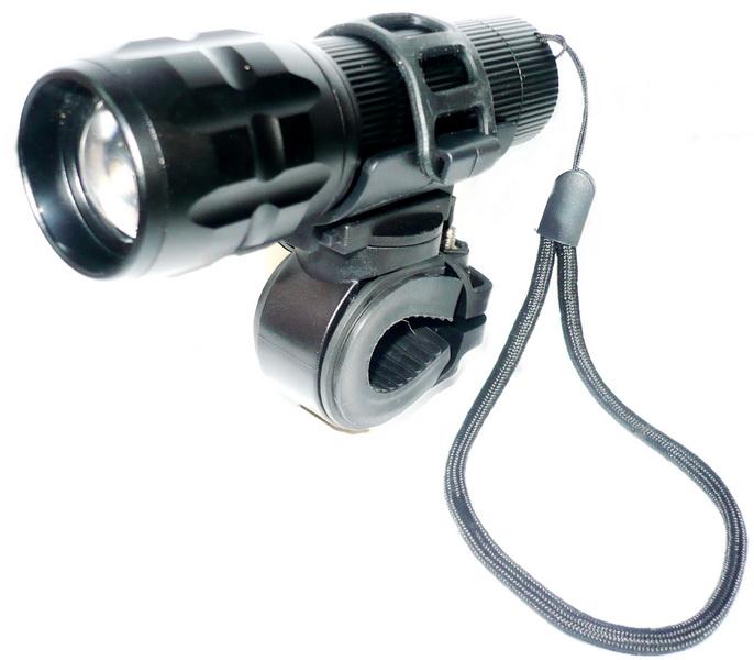 Фонарь передний VLX 1 диод, 7 режимов, 150Lm, AL корпус, VLX-1204B, чёрный   а +