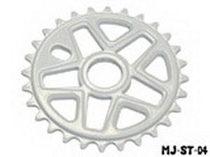 """Звезда BMX 28Т 1/2""""х1/8"""" 6мм Mj Cycle MJ-ST-04 фрезерованная, AL-6061 T6, белая"""
