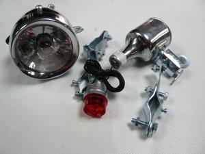 Фонарь задний + передний + генератор 6V-3W, малый, хромированный   ч