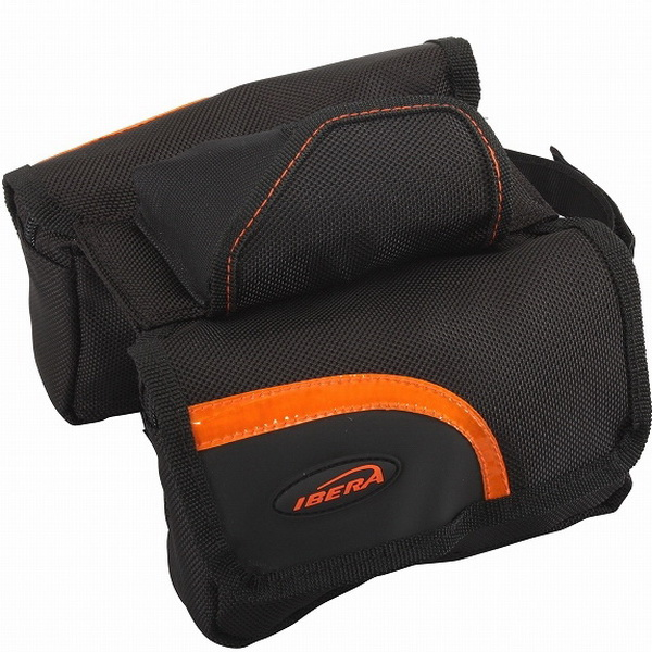 "Сумка на раму Ibera, IB-ТB3, ""мини-штаны"", с чехлом от дождя, карманом для телефона, чёрно-оранжевая**"