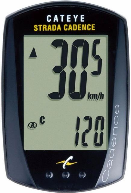Велокомпьютер Cateye, CC-RD200 (Strada), 10 функций, сенсорный, с датчиком педалирования, чёрный * *