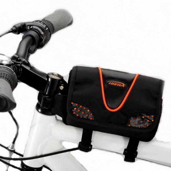 Сумка на раму Ibera, IB-ТB2, со светотражающими полосами, чехлом от дождя, чёрно-оранжевая