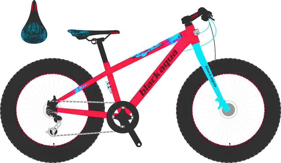 """Велосипед 24"""" Black Aqua Fat GW-T16B802 21ск, алюминиевая рама, Disс, красный"""