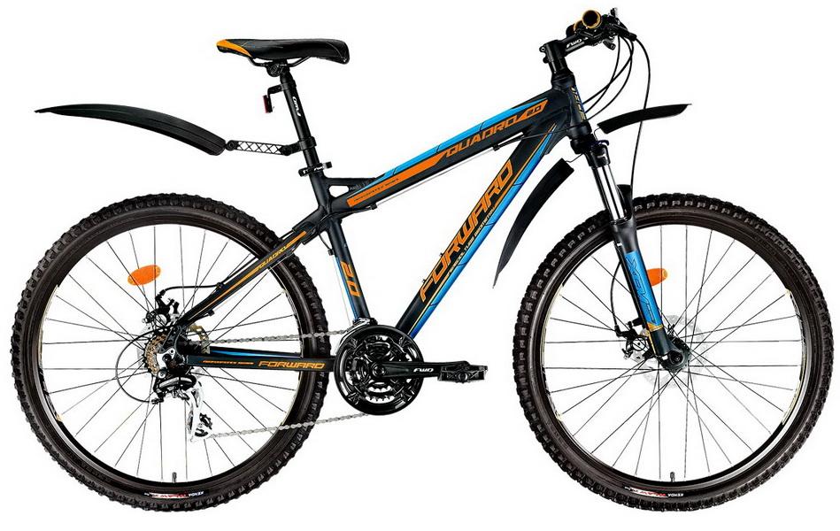 """Велосипед 26"""" Forward Quadro 2.0 (17"""") 21ск, AL, Disc, чёрный, 2017г."""