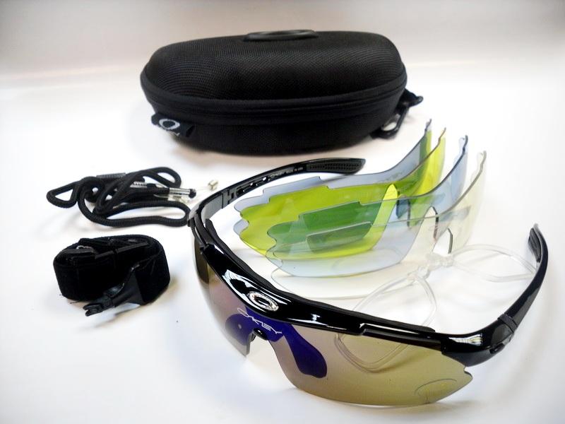 Велоформа Очки Okey 11, оправа чёрная, линзы поликарбонат UV400 - хамелеон, прозрачные, голубые, серые, жёлтые   i