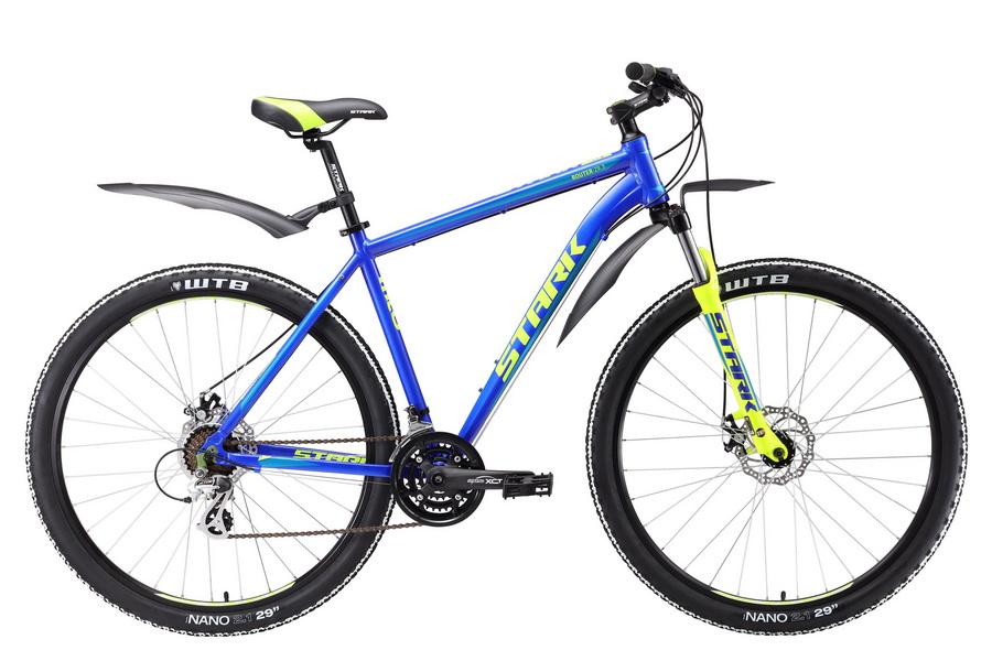 """Велосипед 29"""" Stark Router 29.3 D, (18"""") 21ск, AL, Disc, сине-жёлтый, модель 2017"""