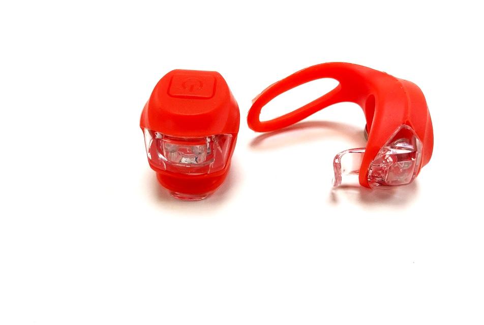 Фонарь задний + передний Vinca Sport 2 диода, 3 режима, силикон, с батарейками, VL 267-2B, красный