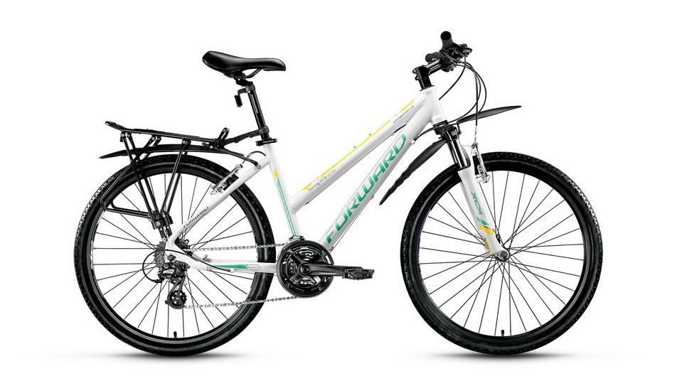 "Велосипед 26"" Forward Canberra 1.0 (15"") 24ск, AL, V-br, белый"