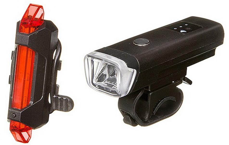 Фонарь задний + передний STG 5 диодов, 4 режима, аккумулятор, USB для зарядки, датчик освещения, FL1559+TL5411   г