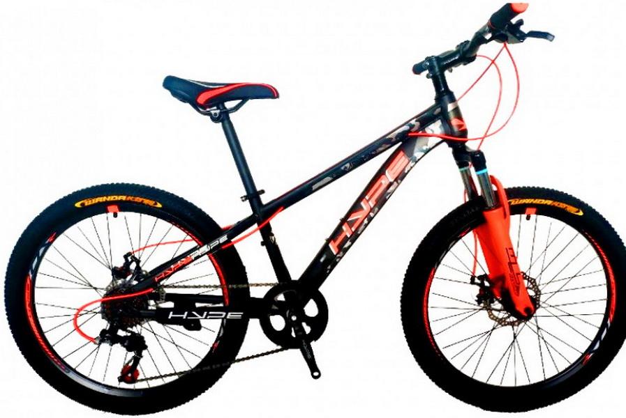 """Велосипед 24"""" Hype 24MD300 (12"""") 7ск, St, Disc, оранжево-чёрный, 2021г.    скидка 20%"""