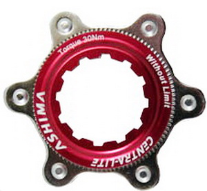 Адаптер для крепления роторов под 6 болтов на втулке под дисковый тормоз Shimano Center Lock Ashima AC-02 красный *