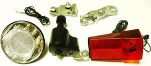 Фонарь задний + передний + генератор 6V-3W, малый, хромированный, основа - чёрная