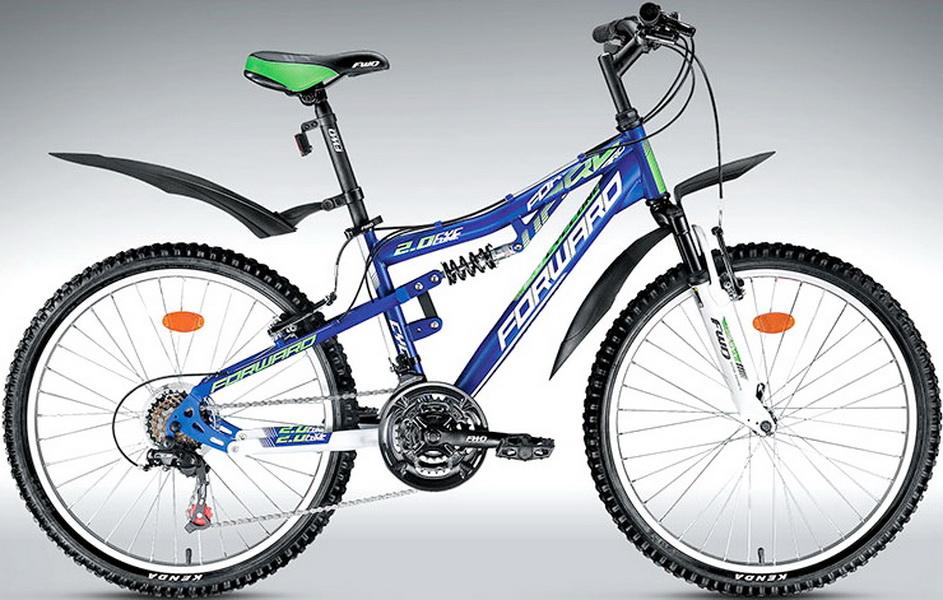 "Велосипед 24"" Forward Cyclone 2.0 18ск, 2-х подвес, St, V-br, сине-белый"