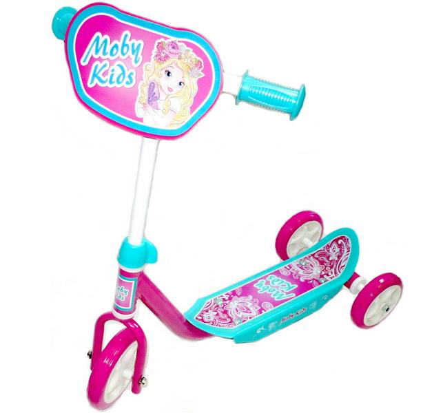 Самокат Moby Kids Мечта 64637 (140x120мм), 3-х колёсный, розовый