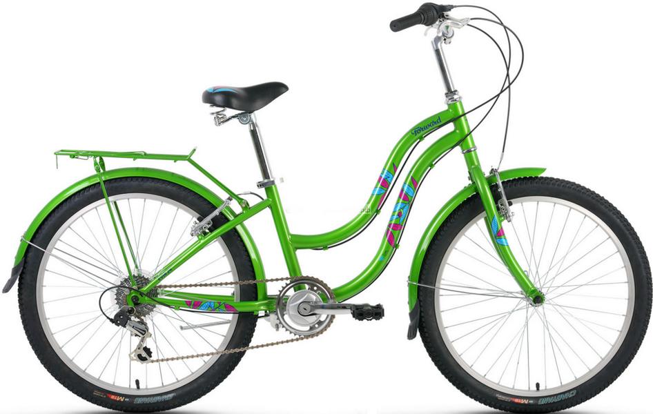 "Велосипед 24"" Forward Evia 7ск, St, V-br, зелёный"