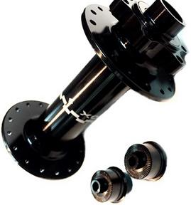 Втулка FAT передняя 32Н, OLD-150мм, Ø15мм, адаптеры QR, под диск. тормоз, 2 прома, Velobox, VBDC-F25, AL, чёрная   а