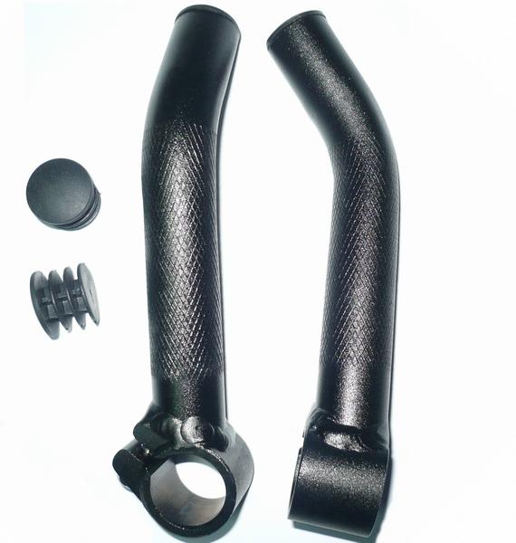 Рога STG, HX-Y01-13 L150мм, AL, кривые, с насечкой, чёрные   г