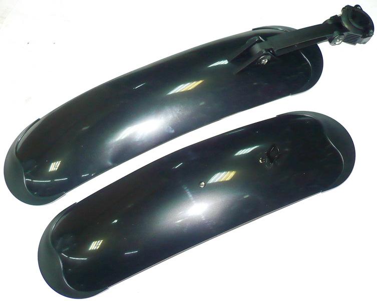"""Крыло заднее+переднее 20-26"""" Yung Fang, FD-43F/R, металлопластиковые, быстросьёмные, чёрные, Fat Bike   а"""