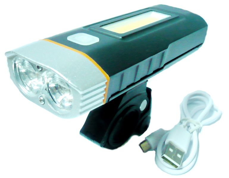 Фонарь передний VLX 2 диода, 4 режима, на корпусе 10 диодов, 2 режима, 500Lm, аккумулятор, USB для зарядки, AL корпус, VLX-1550, чёрный а