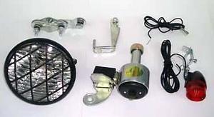 Фонарь задний + передний + генератор 6V-3W, JY701A/YG-CD601, малый, чёрный, с решёткой