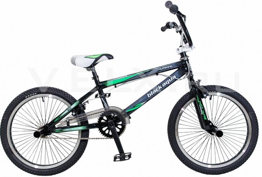 """Велосипед 20"""" BMX Black Aqua Jump/162 GW-B162 1ск, V-br, чёрно-зелёный"""