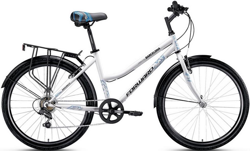 "Велосипед 26"" Forward Barcelona 2.0 (17"") 7ск, St, V-br, белый, 2017г."