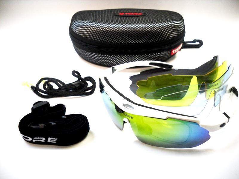 Велоформа Очки 10 оправа - белая, линзы: хамелеон, прозрачные UV400, чёрные полиризованные, голубые UV400, жёлтые UV400   i
