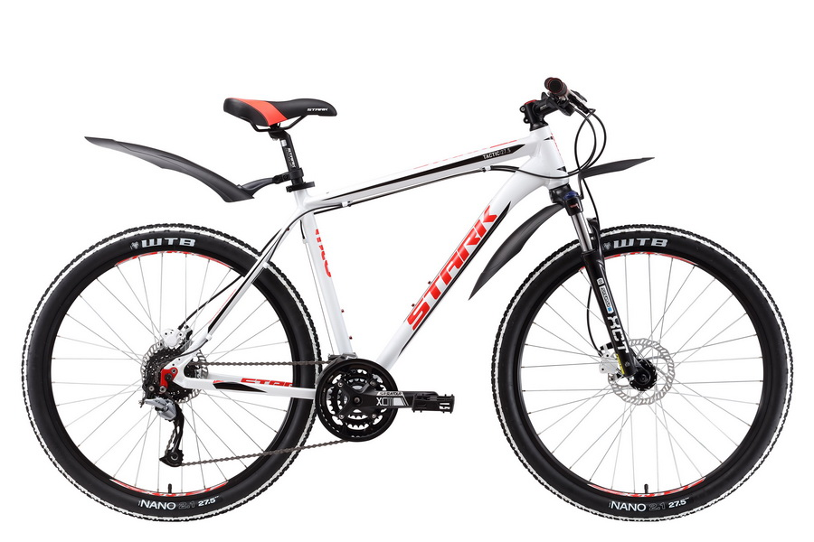 """Велосипед 27.5"""" Stark Tactic 27.5 HD, (18"""") 27ск, AL, Disc, бело-красный, модель 2017"""