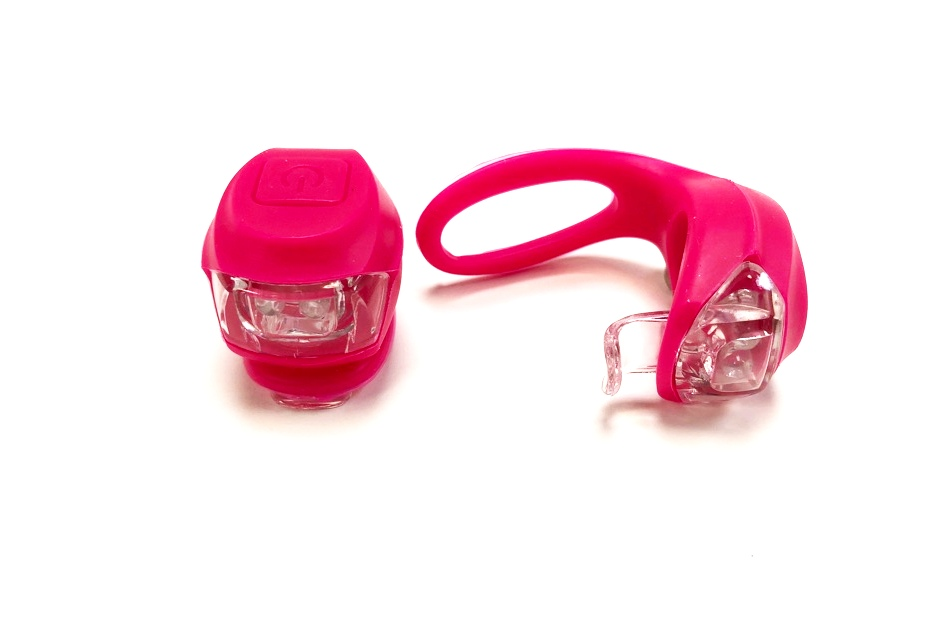 Фонарь задний + передний Vinca Sport 2 диода, 3 режима, силикон, с батарейками, VL 267-2B, розовый