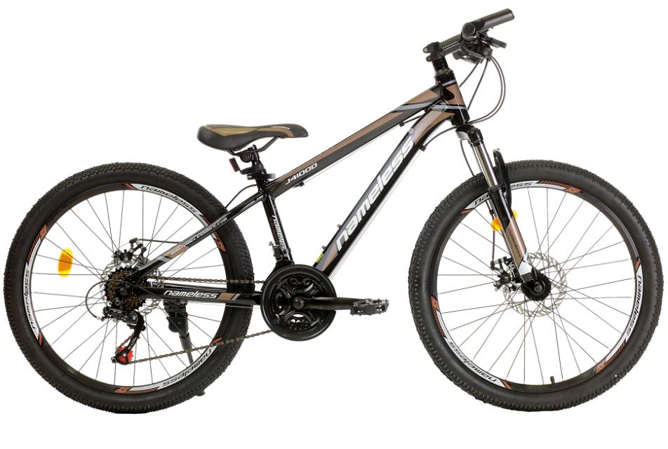 """Велосипед 24"""" Nameless J4100D 21ск, алюминиевая рама, Disc, чёрно-коричневый"""
