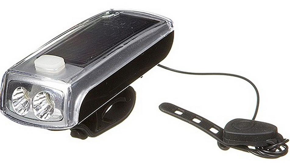 Фонарь передний STG 2 диода, 4 режима, аккумулятор, USB для зарядки, солнечная батарея, FL1551, чёрный + сигнал   г