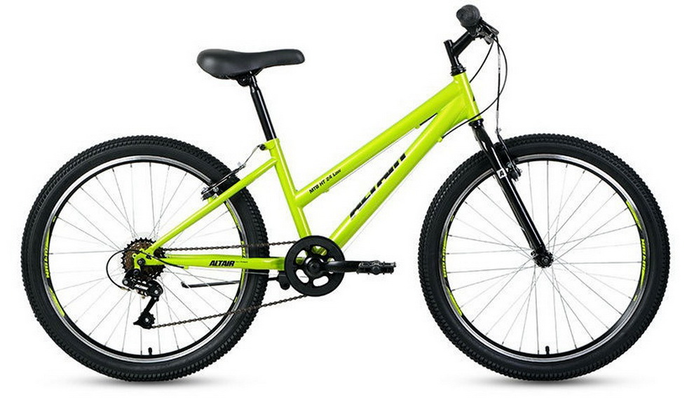 "Велосипед 24"" Altair MTB HT 6ск, St, V-br, зелёно-чёрный ""low"""