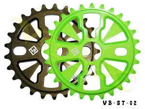 """Звезда BMX 28Т 1/2""""х1/8"""" 7мм VB VB-ST02 фрезерованная, AL-7075, ярко-зелёная"""