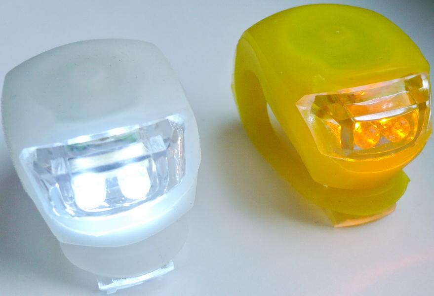 Фонарь задний + передний LED 2 диода, 3 режима, силикон, с батарейками, HJ008-2   ч