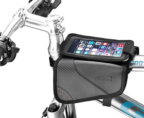 """Сумка на раму Ibera, IB-TB11, 160х90х120мм, """"мини-штаны"""", с карманом для 5""""-6.3"""", IPhone, чёрно-оранжевая   а**"""